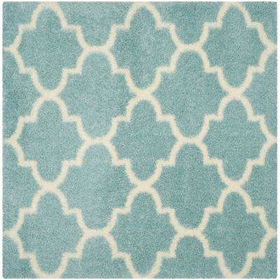 Montreal Shag Light Blue/Ivory 6 ft. 7 in. x 6 ft. 7 in. Square Area Rug