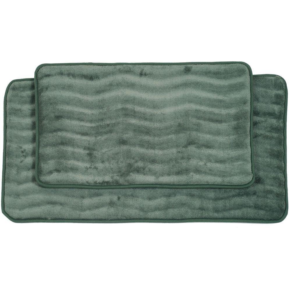 Lavish Home 2 Piece Green Memory Foam Bath Mat Set 67 10 G   The