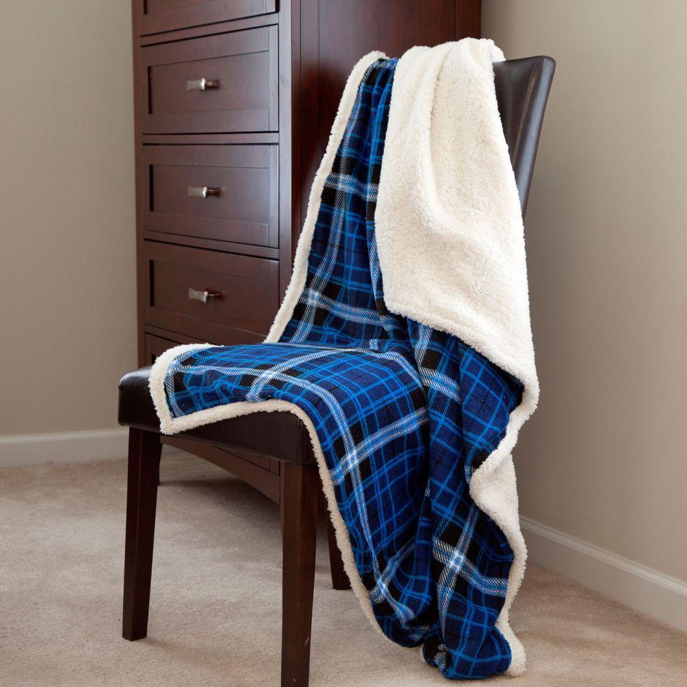Lavish Home Blue Fleece Sherpa Polyester Throw Blanket