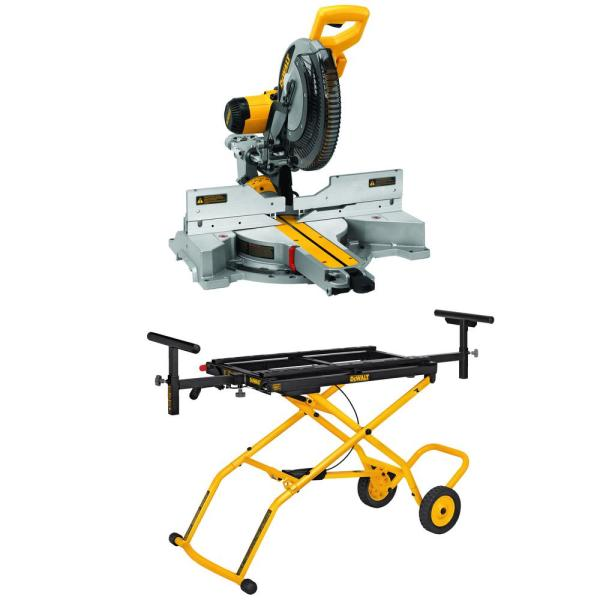 DEWALT 15-Amp Corded 12 in. Sliding Compound Miter Saw with Bonus Rolling Stand