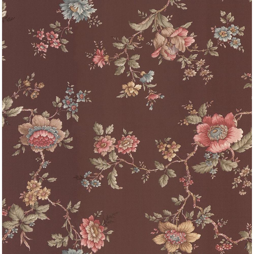 Madison Brown Jacobean Floral Wallpaper Sample