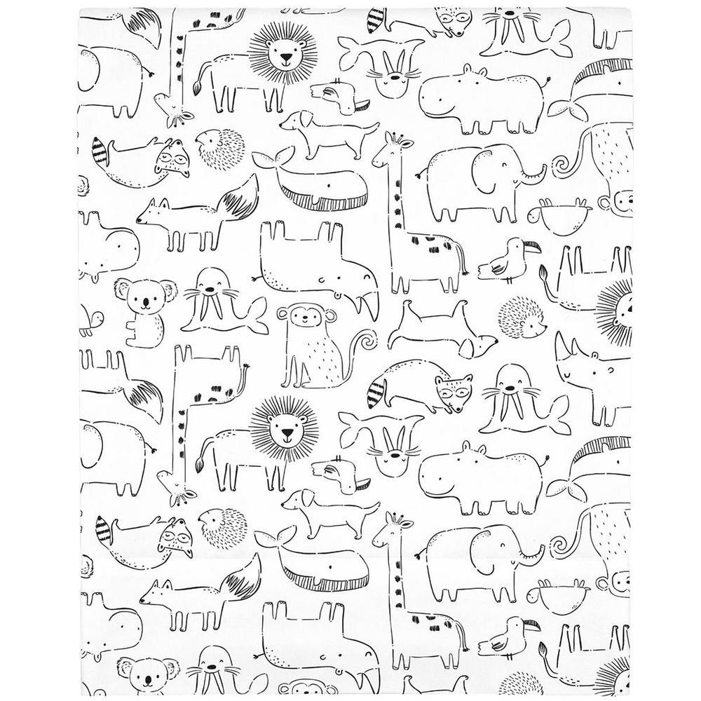 Black and White Safari Animals Super Soft Mini Fitted Polyester Crib Sheet