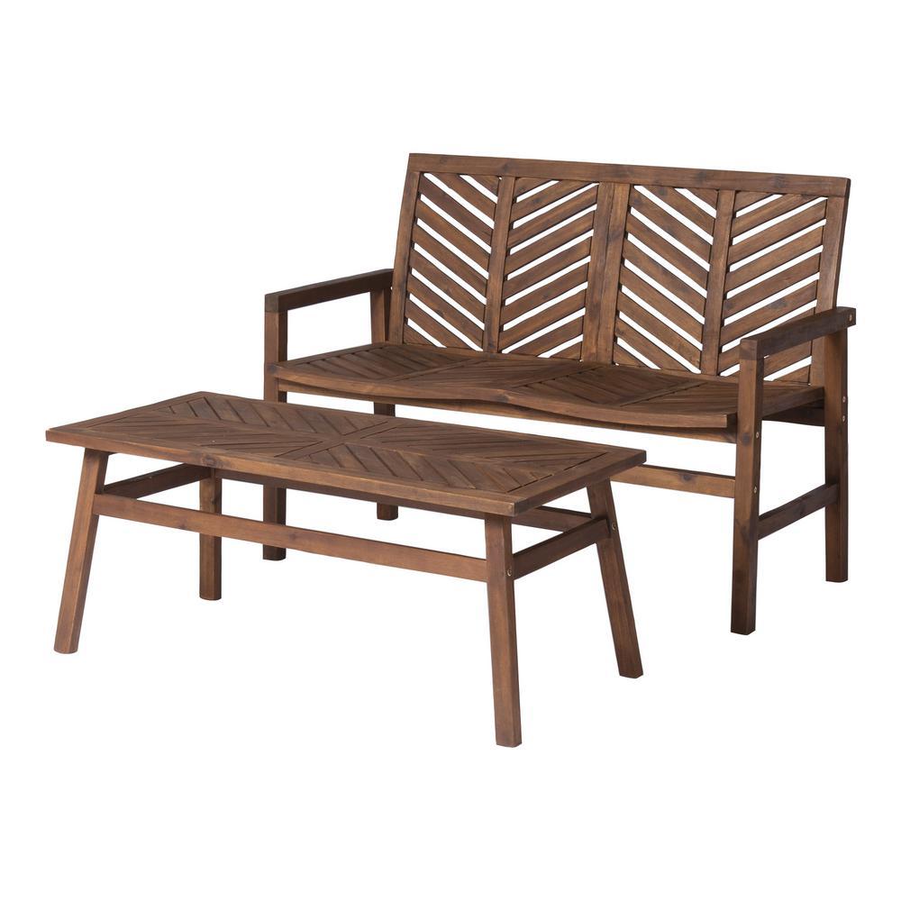 Astonishing Walker Edison Furniture Company 2 Piece Wood Chevron Outdoor Patio Conversation Set In Dark Brown Unemploymentrelief Wooden Chair Designs For Living Room Unemploymentrelieforg