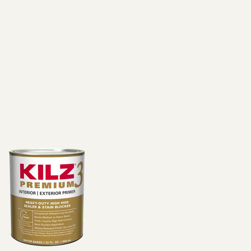 Kilz Premium 1 Qt White Interior Exterior Primer Heavy Duty High Hide Sealer And Stain Blocker 13902 The Home Depot