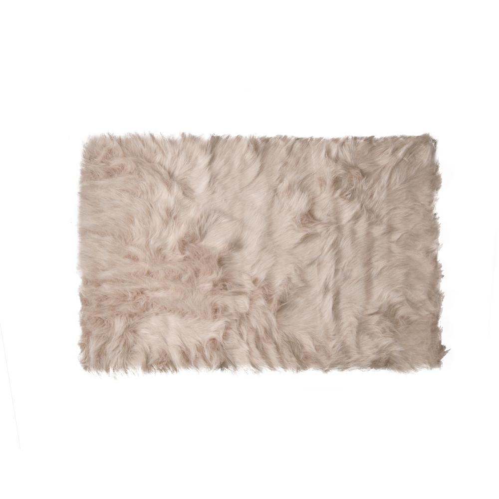 Jean Pierre Faux-Fur Teal 5 Ft. X 2 Ft. Area Rug-YMA006945