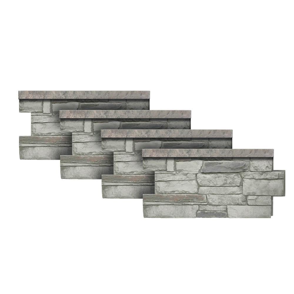 Urestone Ledgestone Wainscot #60 Cascade Canyon 48 in. x 24 in. Stone Veneer Panel (4-Pack)