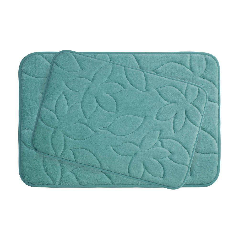 Blowing Leaves 17 in. x 24 in./ 20 in. x 34 in. 2-Piece Memory Foam Bath Mat Set in Marine Blue