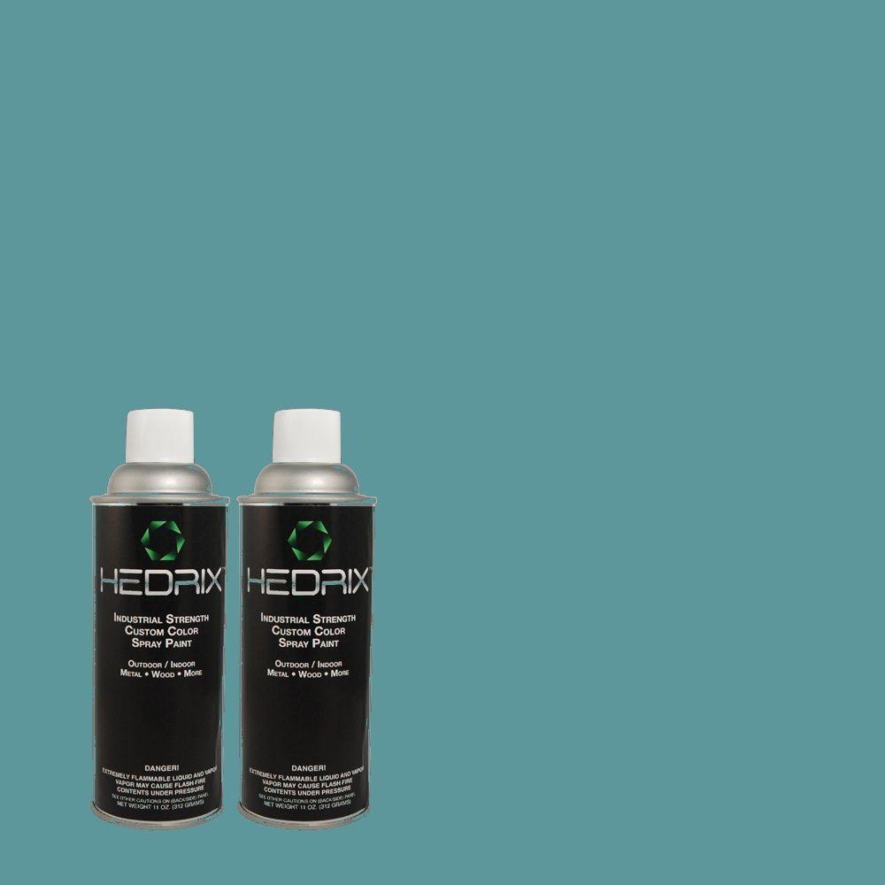 Hedrix 11 oz. Match of Teal Bayou 530D-6 Low Lustre Custom Spray Paint (2-Pack)