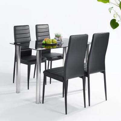 Online 5 Pieces Modern Glass Dining Table Set Faxu Leather With 4 Chairs Black