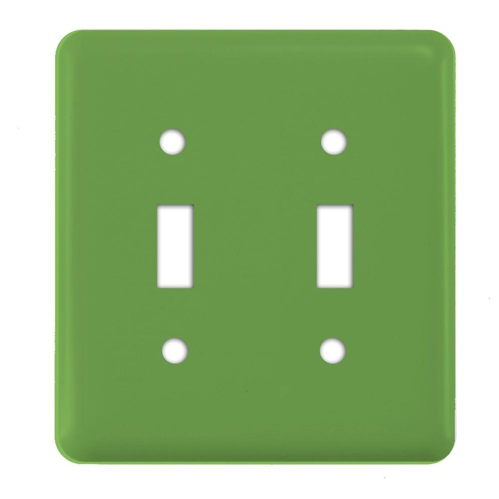 Steel 2 Gang Toggle Wall Plate - Lime Green