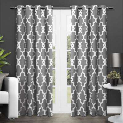 Ironwork Black Pearl Sateen Woven Blackout Grommet Top Window Curtain