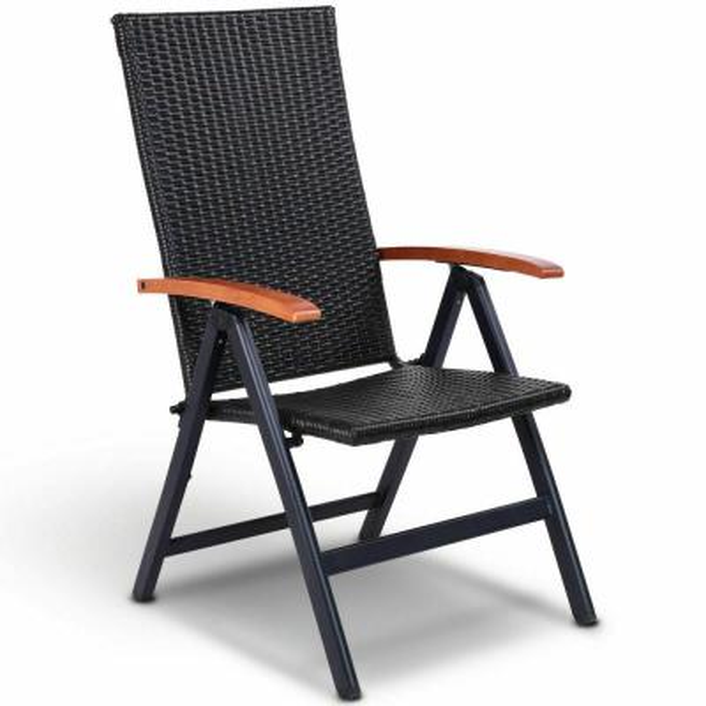 Aluminum Rattan Patio Folding Back Adjustable Garden Lawn Chair Lounge Recliner