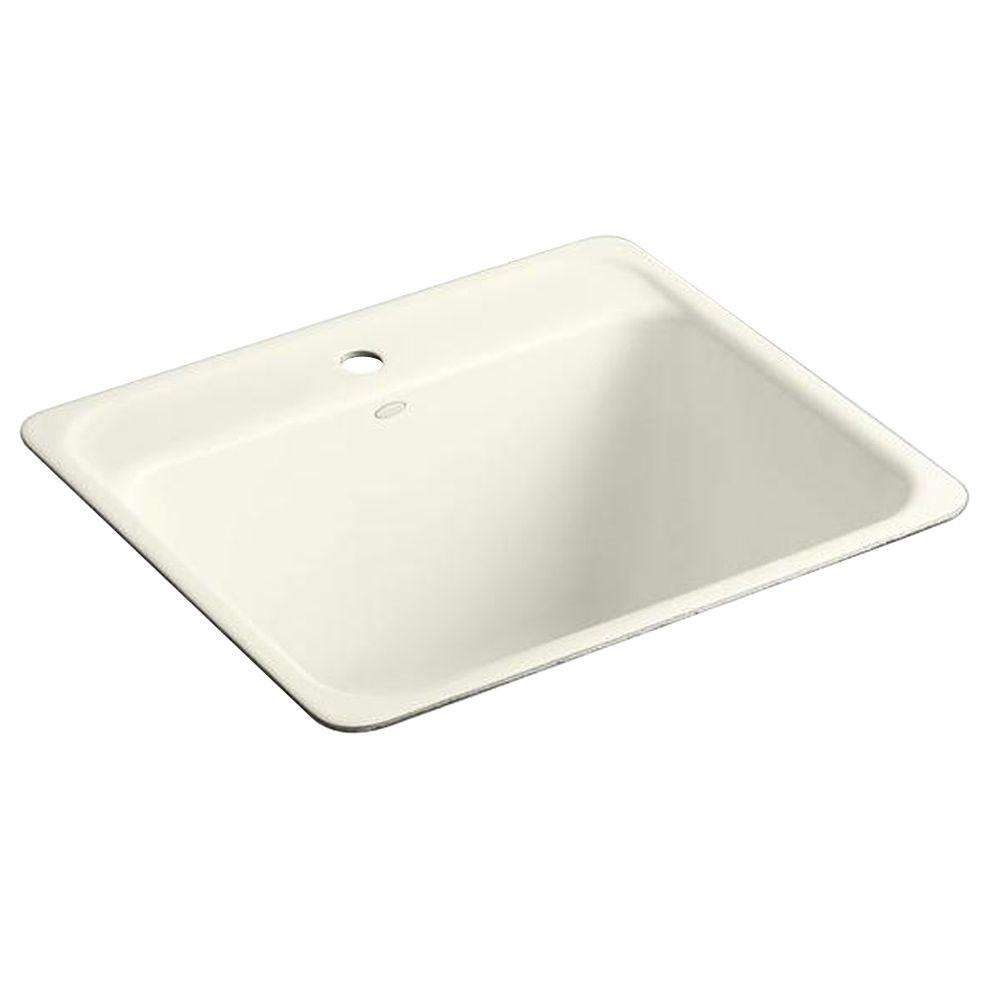 KOHLER Glen Falls 25 in. x 22 in. Cast Iron Undercounter Utility Sink in Biscuit