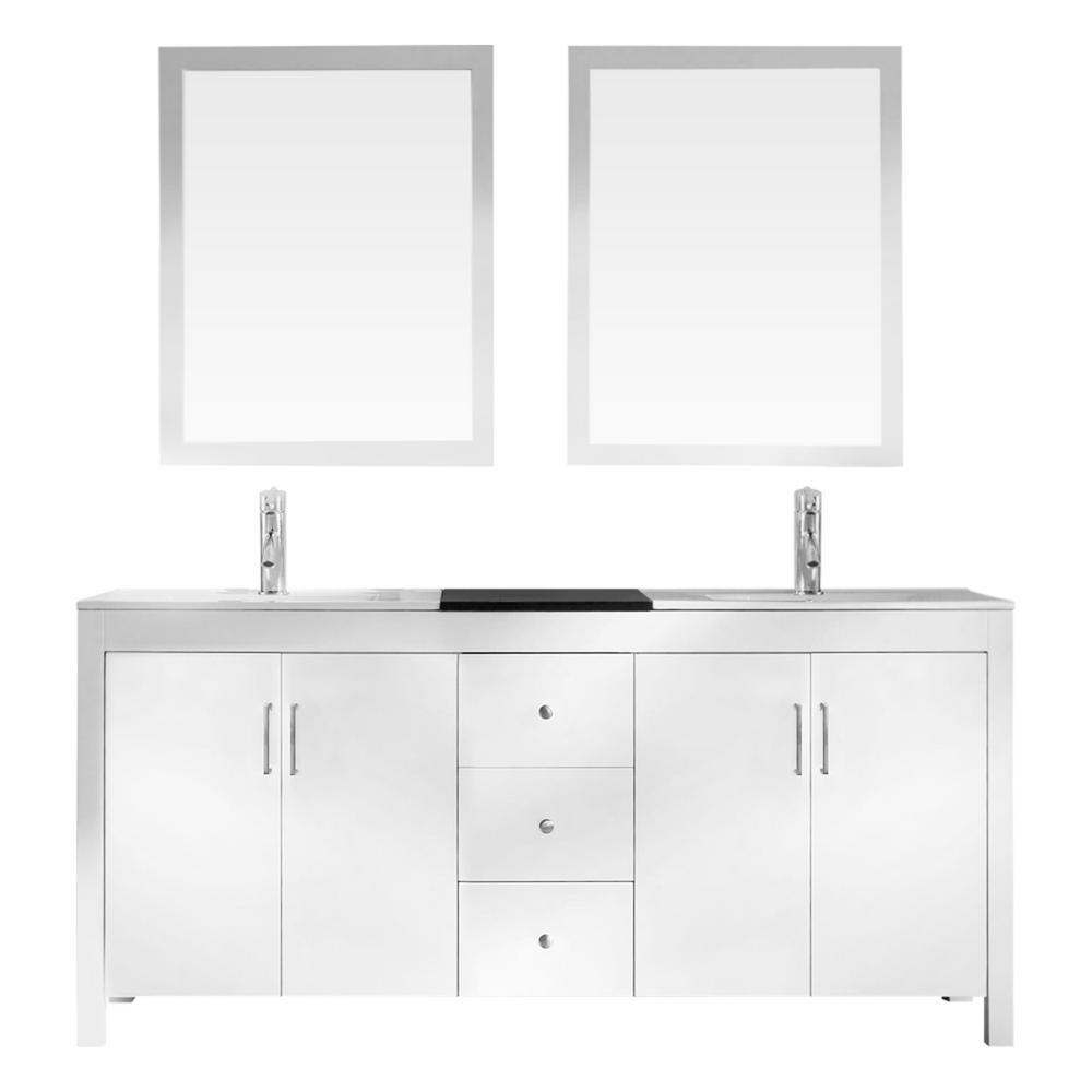 Bath Vanity White Granite Vanity Top Black White Basins Mirrors