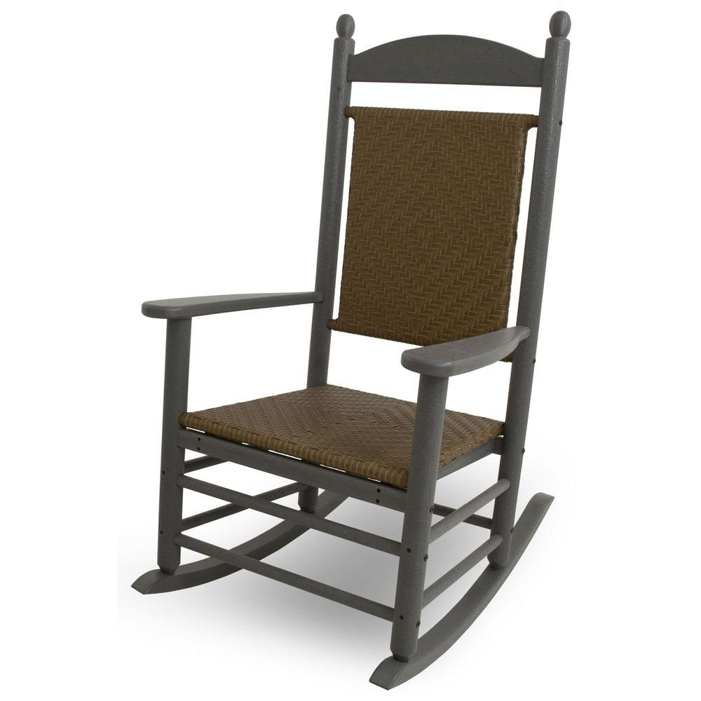 Jefferson Slate Grey Woven All-Weather Plastic Outdoor Rocker with Tigerwood