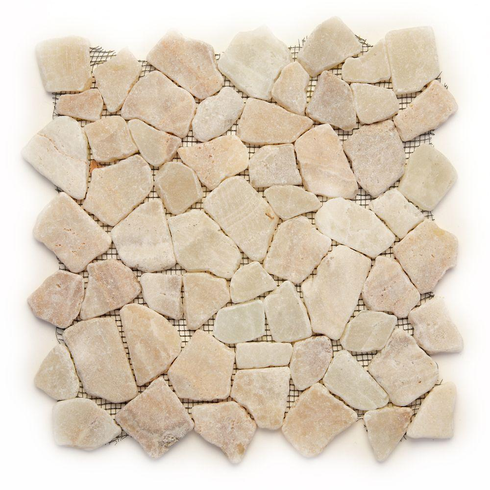 Solistone Indonesian Alor Crystal 12 in. x 12 in. x 6.35 mm Natural Stone Pebble Mesh-Mounted Mosaic Tile (10 sq. ft. / case)