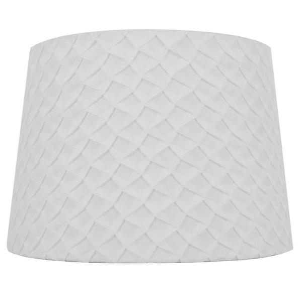 Mix and Match 14 in. Diax 10 in. H White Scale Pleat Round Table Lamp Shade