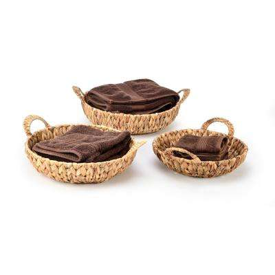 Round Hyacinth Wicker Baskets with Handles (Set of 3)