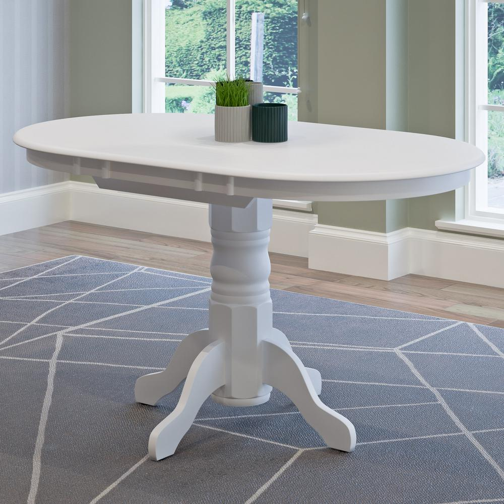 CorLiving Dillon White Wood Extendable Oval Pedestal Dining Table - White pedestal table with leaf