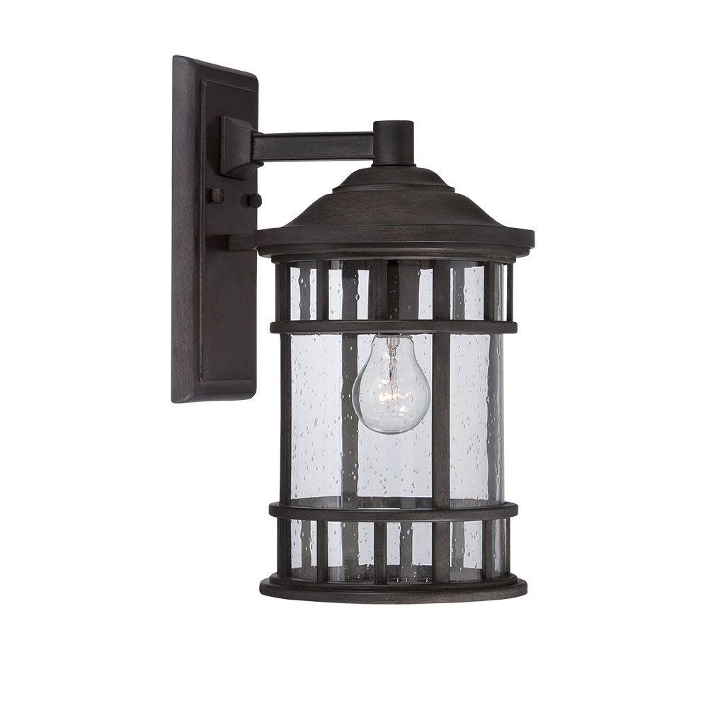 New Vista Collection 1-Light Outdoor Black Coral Wall Mount Light
