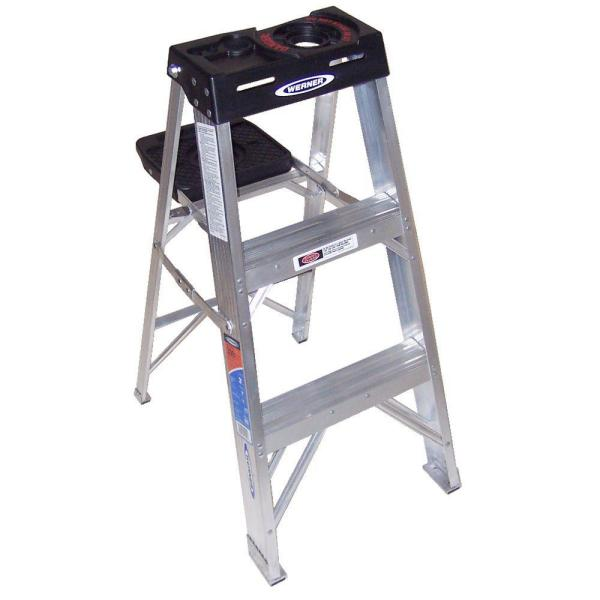 3 ft. Aluminum Step Ladder with 300 lb. Load Capacity Type IA Duty Rating