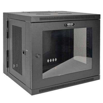 SmartRack 10U Low-Profile Switch-Depth Wall-Mount Rack Enclosure Cabinet with Clear Acrylic Window, Hinged Back, Black