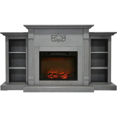 Sanoma 72 in. Electric Fireplace in Gray with Built-in Bookshelves and a 1500-Watt Charred Log Insert