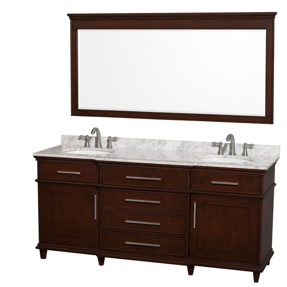 Berkeley 72 in. Double Vanity in Dark Chestnut with Marble Vanity Top in Carrara White, Oval Sink and 70 in. Mirror