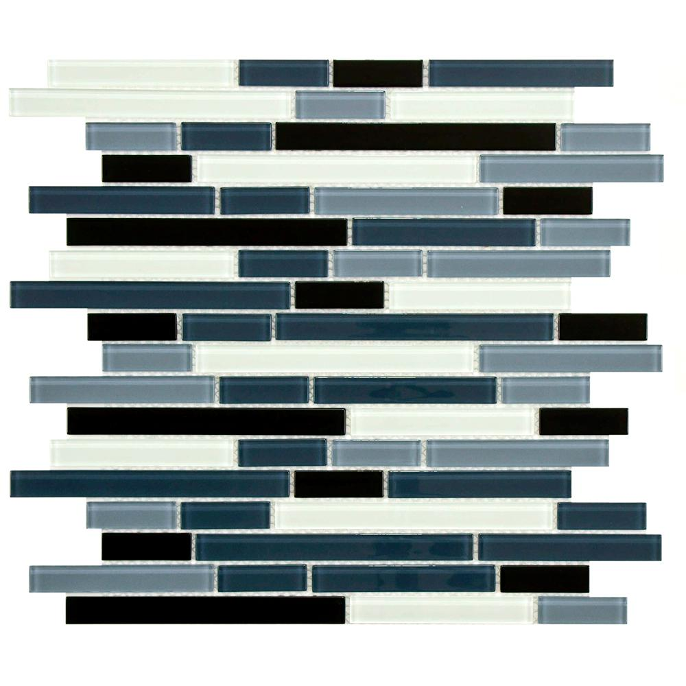 Merola Tile Spectrum Piano Mariana 11-3/4 in. x 11-3/4 in. x 4 mm Glass Mosaic Tile