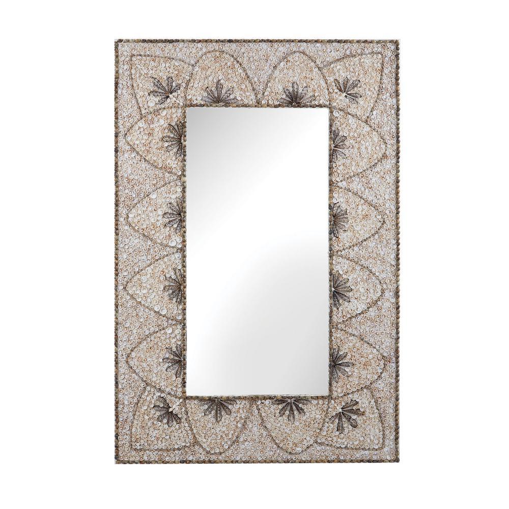 Flower Arc 48 in. x 32 in. Rectangular Shell Framed Mirror