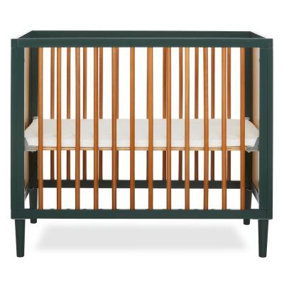 Lucas 4-in-1 OliveI Convertible Crib Mid- Century Meets Modern Mini Modern Crib with Rounded Spindles