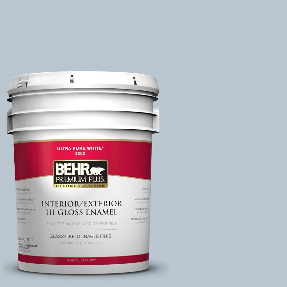 BEHR Premium Plus 5-gal. #560E-3 Silver Strand Hi-Gloss Enamel Interior/Exterior Paint