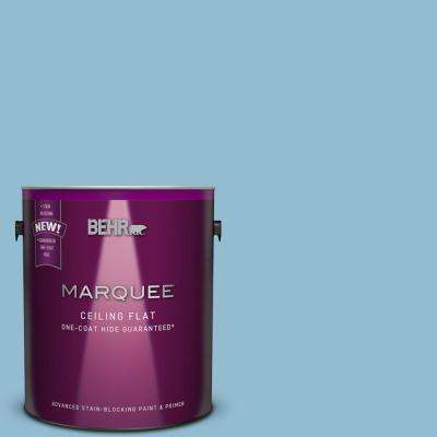 1 gal. #S490-3 Tinted to Reef Blue One-Coat Hide Flat Interior Ceiling Paint and Primer in One
