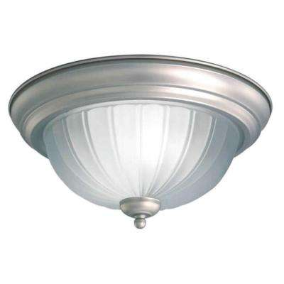 1-Light Brushed Nickel Flushmount with Fluted Satin Etched Glass