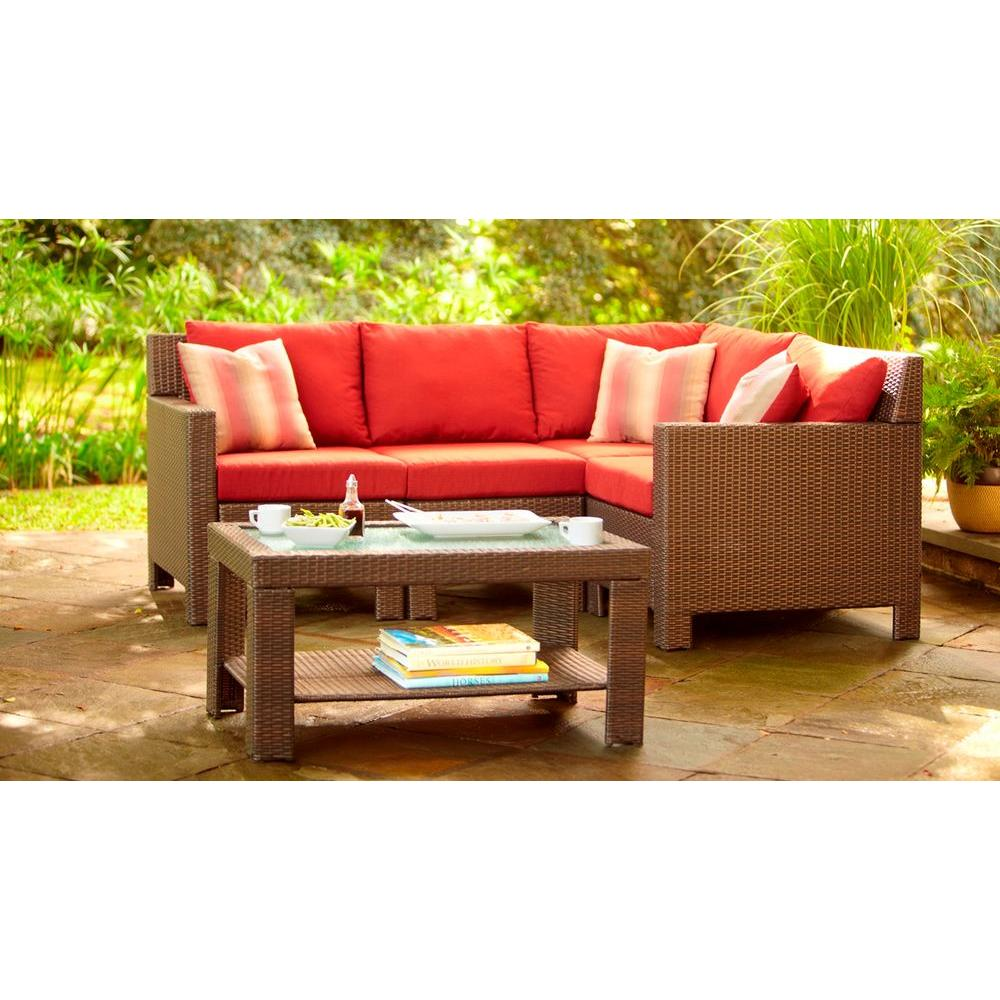 Hampton Bay Beverly 5-Piece Patio Sectional Seating Set with Cardinal Cushions