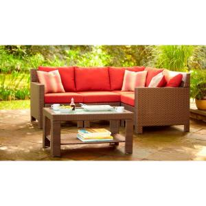 Beverly 5-Piece Patio Sectional Seating Set with Cardinal Cushions