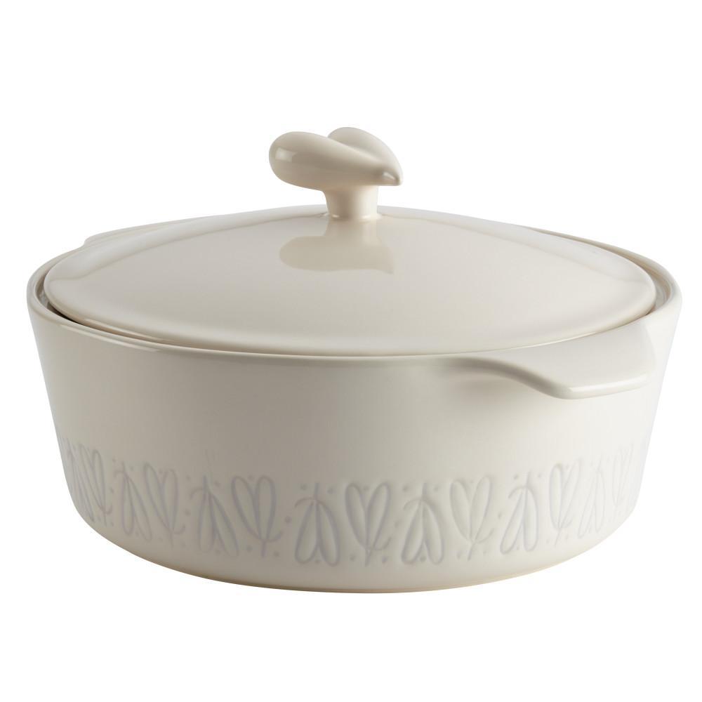 Home Collection 2.5 Qt. Ceramic Round Casserole in French Vanilla