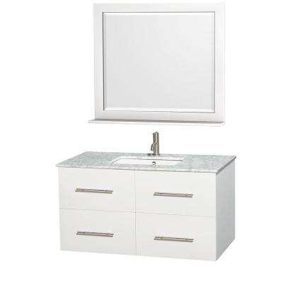 Centra 42 in. Vanity in White with Marble Vanity Top in Carrara White, Square Sink and 36 in. Mirror