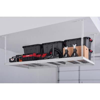 96 in. W x 42 in. H x 48 in. D Overhead Ceiling Mount Storage Rack in White