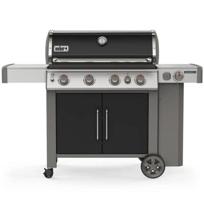 Genesis II E-435 4-Burner Propane Gas Grill in Black with Built-In Thermometer and Side Burner