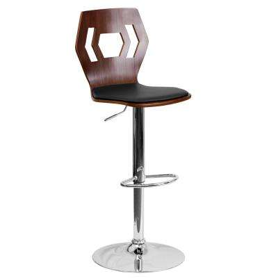 Walnut Bentwood Adjustable Height Barstool with Designer Cutout Back and Black Vinyl Seat