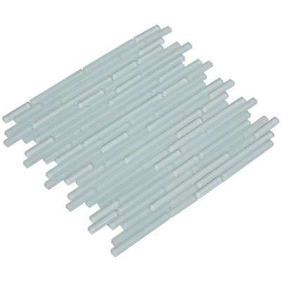 Mahi/04, White / Blue Overtone, Interlocking, 3 in. x 12 in. x 8 mm Glass Mesh-Mounted Mosaic Tile Sample