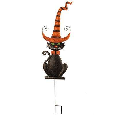 46 in. Black Halloween Cat Ground Stake