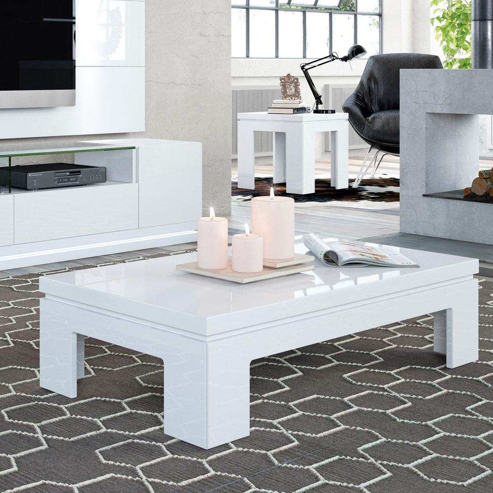 Annika White Gloss Coffee Table: Manhattan Comfort Bridge White Gloss Coffee Table-2