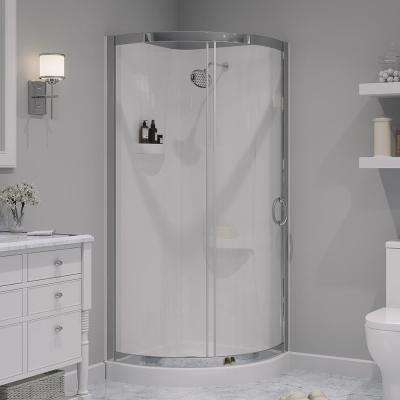Breeze 31 in. x 31 in. x 76 in. Shower Kit with Reversible Sliding Door and Shower Base