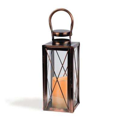12 in. H Copper Metal LED Lantern