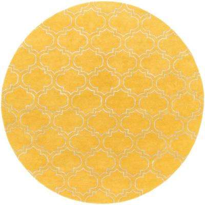 Signature Emily Yellow 6 ft. x 6 ft. Round Indoor Area Rug