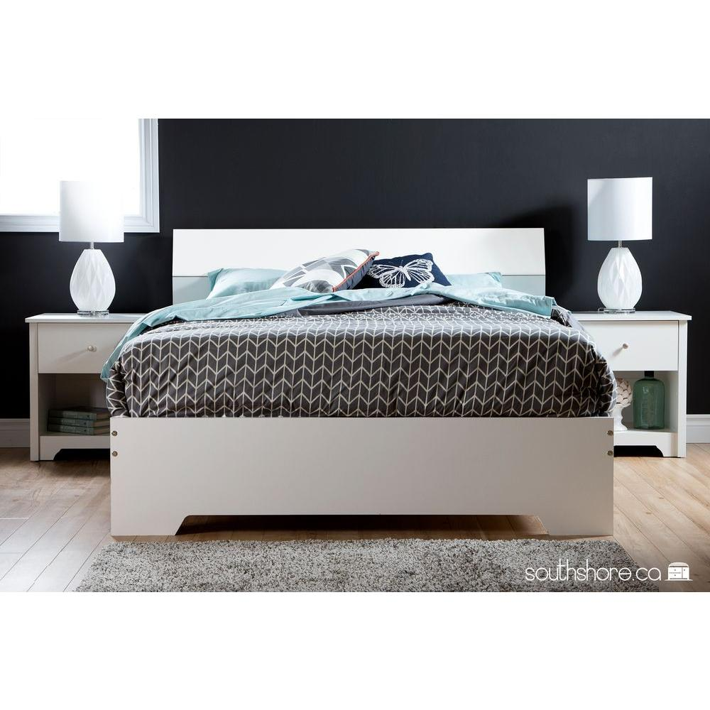 South Shore Vito Queen-Size Platform Bed in Pure White