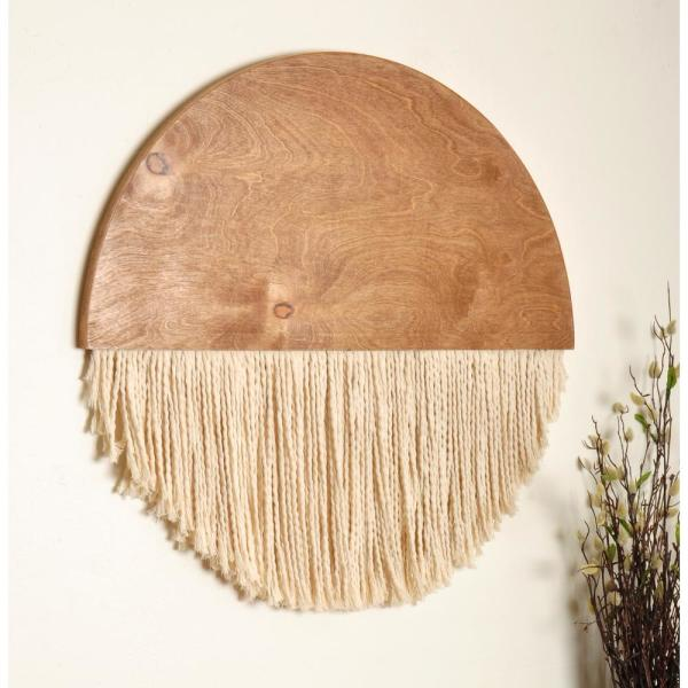 23 in. Wooden Round Fiber Art Wall Hanging