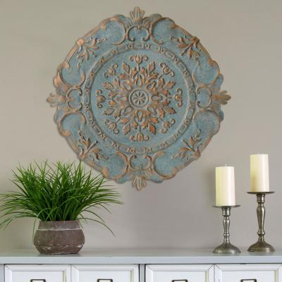 Blue Metal European Medallion Wall Decor